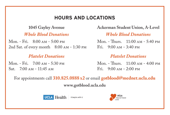 Hours of Collection for UCLA Donor Centers