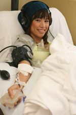 Bruin Penelope Vasquez donates blood (photo by Rich Schmitt - UCLA Today)